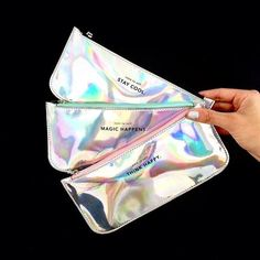 NEW Holographic pencil cases! One color for every taste! School Suplies, Cute Stationary, Back 2 School, Back To School Supplies, Pencil Boxes, Cute Bags, Cosmetic Bag, Iridescent, Stationery