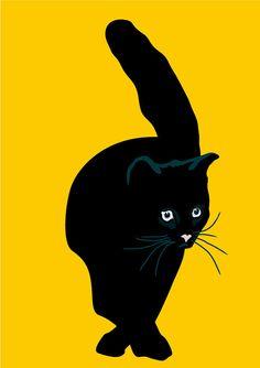 Black cat print by animalsincolor on Easy.   Sebastiano Ranchetti.