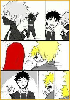 Aw! Naruto, Minato, Kushina, Kakashi, & Obito.