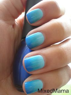 Autism Awareness Nails using Sally Hansen Blue Streak, Blue-Away and Sinful Colors Midnight Blue.