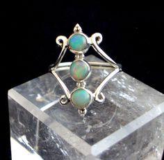 Blue Ethiopian Opal Genuine Gemstones set into 925 Sterling Silver Elegant and Statement Ring Sz by Ameogem on Etsy