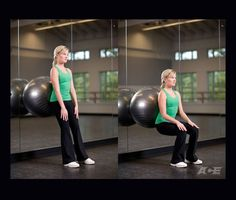 Stability Ball Wall Sits... these are great exercises you can do at home!  Put the stability ball on the wall and stand in front of it, placing the ball at your lower back.  Squat down so your quads are parallel with the floor, hold for 15 seconds, then come back up. Try and work up to doing ten in a row: you will feel the burn!  Make sure you have proper form so that your back is 'set' and straight, and your knees never go in front of your toes.  The girl in the picture has excellent form.