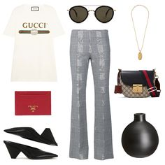 We're sure that you'd agree that 2017 is all about putting one's best foot forward, preferably in a Stella McCartney mule no? Logo-print cotton T-shirt: Gucci . Round frame acetate sunglasses: Celin