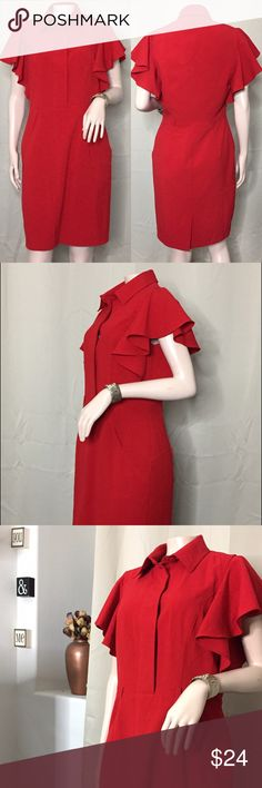 "Calvin Klein • Knee Length Dress Red, Fiery, & Bold ! Get ready to make a statement with this beautiful piece. Front top of dress does have buttons and the back has about a 3"" inch split in the center.  Sexy yet professional!   - Great Condition - Comes with FREE Gift  • Size: 8 • Calvin Klein Dresses"