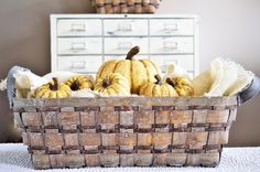 Looking for an easy way to add some fall feeling to your decor? Simply grab one of our natural, elongated baskets and fill it with a mix of our small and medium, white, pumpkins. You'll have a display that will look fabulous until it's time to switch it out for Christmas! {Helpful hint: fill the bottom of the basket with empty boxes, or foam squares, then top with burlap or a fabric of your choice to cover. This way all of your pretty pumpkins are visible and do not fall to the bottom!}