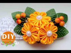 DIY.Kanzashi flower tutorial. Headband hair.Flowers from ribbon. - YouTube