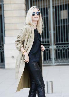 Celine coat// Balenciaga top// H&M Paris Collection leather pants//Jimmy Choo ankle boots// Gucci sunglasses// Saint Laurent bracelet