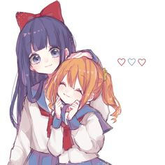 Pop team Epic - Pipimi and Popuko Anime Best Friends, Friend Anime, Anime Chibi, Manga Anime, Girls Manga, Character Art, Character Design, Anime Friendship, Yuri Anime