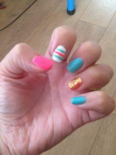 Summer nails 2013 - using gold leaf.