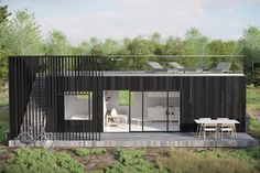 Solhagen, Blidö | Astivia Building A Container Home, Container House Design, Tiny House Design, Container Houses, Flat Pack Homes, Coastal House Plans, Bungalow, Tiny Cabins, Metal Homes