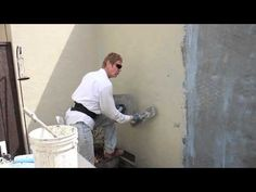 Re-coat a painted wall with new stucco, complete resurfacing - YouTube