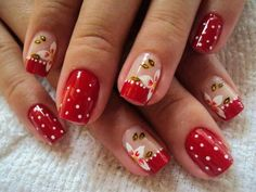 Christmas Nails Designs on Red Polish and Red French Tips Red Nail Designs, Simple Nail Designs, Mani Pedi, Manicure And Pedicure, Red Nails, Hair And Nails, E Piano, Geometric Nail, Flower Nails