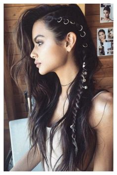 Side braids and hair rings by Brittany S. - Side braids and hair rings by Brittany Sullivan - Side Braid Hairstyles, Bohemian Hairstyles, Pretty Hairstyles, Hairstyle Ideas, Hair Updo, Edgy Hairstyles, Bohemian Hair Braid, Braids Long Hair, Funky Hairstyles For Long Hair