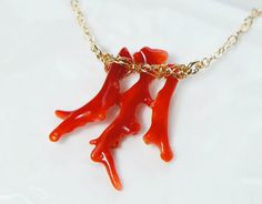 Japanese Red Coral Necklace No Dyed Branches Pendant Gift for Mom