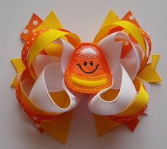 Candy Corn Halloween Boutique Hairbow by lilbooboutique on Etsy, $10.99