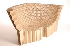 Manchester, UK-based designer Liam Hopkins and artist Richard Sweeney at Lazerian studio recently unraveled their corrugated cardboard furniture influenced by structures of wasp nests and sea organisms. See more of the Bravais armchair and Radiolarian sofa on designboom.