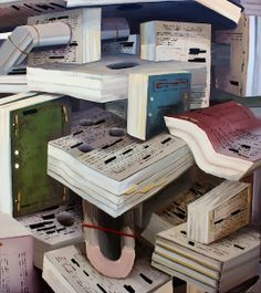 The form of this photo uses books a a way to make art by stacking them in various ways. Also, they are of many different kinds of books with different features. It is a different approach for a new kind of art.