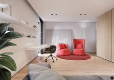 House in Olsztyn, Poland. Project is made by Tamizo Architects (Lodz, Poland)Visualization by Terodesign ( Krakow, Poland ) Interior Rendering, Interior Design, Tamizo Architects, Painting The Roses Red, 3d Visualization, Amazing Architecture, Floor Chair, Room Inspiration, Guest Room