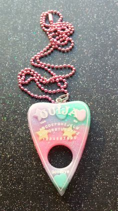 ♥ Bright Pastel Ouija Pendant ♥ Creepy Cute! ♥ Hand cast from super shiny & durable resin! ♥ Arrives in a cute bag for gift giving! ♥ Totally unique &