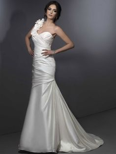 One shoulder satin with lace-up back wedding dress. OMG this is gorgeous.