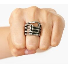 Skeleton Grip Ring ($15) ❤ liked on Polyvore featuring jewelry, rings, accessories, silver, skeleton jewelry, skeleton ring, silver jewelry, silver jewellery and silver rings