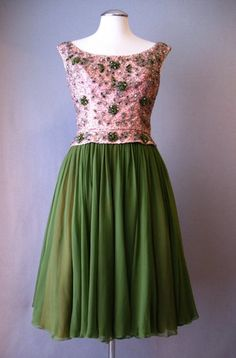 Vintage 60s Evening Dress Beaded Silk Small bust 36 at Couture Allure Vintage Clothing