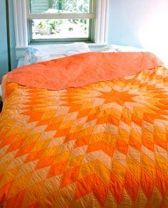 Vintage Orange Patchwork Quilt Hand Quilted Sunburst Diamonds