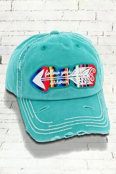 Follow Your Arrow Serape in Distressed Turquoise or Black Decorative Ball  Cap  Graphic Baseball Hat   Bad Hair Day Baseball Hat 3a4f77266776