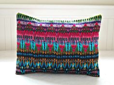 decorative pillow cover aztec cerise lime by LittleJoobieBoo, £15.00