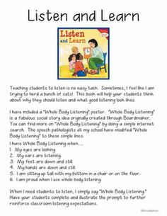 Printables Listening Comprehension Worksheets at home and whole body listening on pinterest