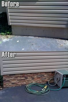 Attach stone to the visible foundation under the siding.