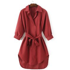 Turn Down Collar Belted High Low Hem Shirt Dress (75 PEN) ❤ liked on Polyvore featuring dresses, red dress, collared dresses, red collar dress, shirt dresses and red hi low dress