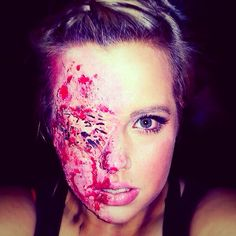 glam and gore special effects makeup done by shaney stpierre done using elmers halloween makeup kitscheap