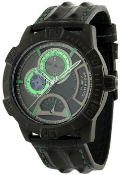 Stuhrling Original Men's 265.33551 Leisure Gen-Y Quartz Chronograph Black Leather Strap Watch Stuhrling Original. $174.00. Black dial with green day, date, and 24 hour sub dials. Water-resistant to 100 M (330 feet). Protective Krysterna crystal on front and decorated case back. Black IP plated round shaped case with unidirectional bezel. Black leather strap with green contrast stitching and black IP plated tang buckle. Save 73% Off!