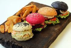 These white, pink and black burger buns from Barcelos in Delhi are part of a trend for colourful burgers. Image: Barcelos