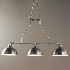 "Hammered Metal Industrial Island Chandelier 3 Lt - (24.75""Hx42.5""Wx11""D)  $289 - Nickel"