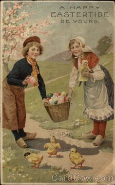 Happy Easter With Chicks #vintage #postcard #Easter #chick #chicks #egg #eggs…