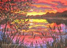 Картина панно рисунок Мастер-класс Рисование и живопись Пейзаж Закат на озере Гуашь фото 1