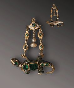 THE LIZARD PENDANT  Spain? XV Century? Gold, emeralds, pearls Smelted, chiseled and glazed Metropolitan Cathedral of Santo Domingo