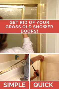 How to remove sliding shower doors - the quick and easy way How to (easily!) remove sliding shower d Bathroom Shower Doors, Diy Shower, Diy Bathroom Decor, Bathroom Ideas, Master Bathroom, Easy Bathroom Updates, Bathroom Organization, Cleaning Shower Doors, Sliding Shower Doors