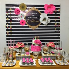 trendy Ideas for bridal shower desserts ideas kate spade Bridal Shower Desserts, Bridal Shower Decorations, Birthday Party Decorations, 30th Party, 30th Birthday Parties, Birthday Ideas, Dessert Table Birthday, Dessert Tables, Kate Spade Party