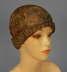 hatsfromhistory:  1920s Metallic Cloche, Whitaker Auctions LOVE THIS! It's like a Van Gogh made into a hat…