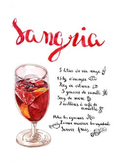Sangria Poster Art Print by agou Cocktail And Mocktail, Summer Cocktails, Cocktail Recipes, Recipe Drawing, Brunch Appetizers, Alcohol Drink Recipes, Summer Snacks, Food Illustrations, Alcoholic Drinks