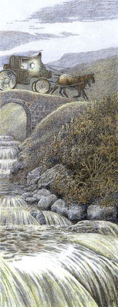 The Secret Garden ✿⁀° The carriage passed over a little bridge. The Secret Garden by Inga Moore Book author: Frances Hodgson Burnett. Secret Garden Book, Children's Book Illustration, Book Illustrations, Watercolour Illustration, Fantasy Art, Book Art, Fairy Tales, Nature, Pictures