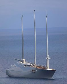 142.8-meter S/Y A the largest sail-assisted motor yacht in the world arriving in Monaco