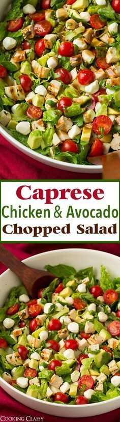 Caprese Chicken and Avocado Chopped Salad - this salad is SERIOUSLY DELICIOUS!! We can't wait to make it again!