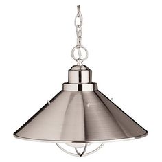 Kichler Lighting Seaside 1-Light Pendant, Brushed Nickel Finish