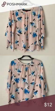 VINCE CAMUTO Floral Blouse- Pink/Blue Excellent condition! 100% polyester Vince Camuto Tops Blouses