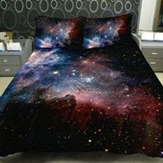 Anlye Colored Star Twinkling Bedding Set 2 Sides Printing Colored Star Duvet Coverstar Twinkling Bed Linen Sheets with 2 Matching Nebula Pillow Cases Full
