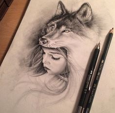 Drawing a girl with a wolf head, by Trasher Gunnolf